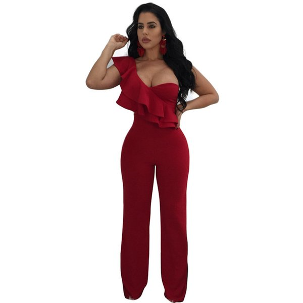 f8464206880 Sexy Ruffles One Shoulder Strapless Jumpsuits Women Office Casual Sleeveless  Jumpsuit Solid Red Slim One Piece Pants Overalls