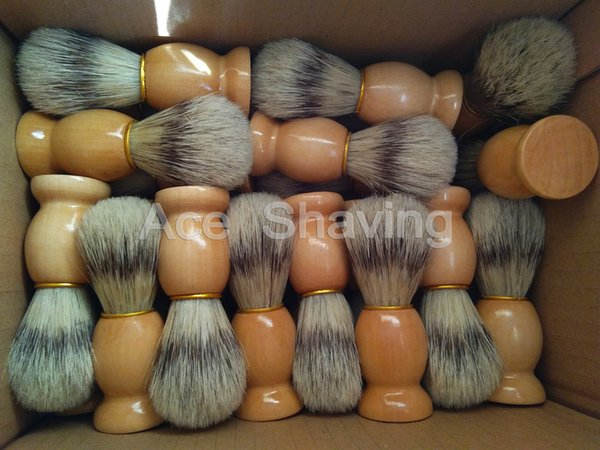 30 Pieces of Faux Badger Color Boar Bristle Hair Wooden Handle Shaving Brush Beard Shaver