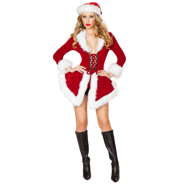 High Quality Women Sexy Santa Claus Clothing With Hat And Deep V-neck Abdomen Cross Strap Suit Christmas Dress Set Cosplay Wear