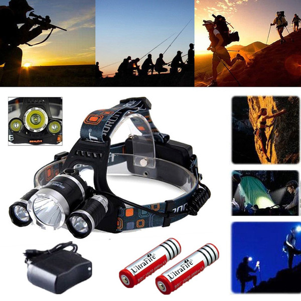 Ultra Bright 3800LM Tactical Headlight Rechargeable Cree XM-L T6 3x LED Headlamp US Stock + 18650 Battery + Charger