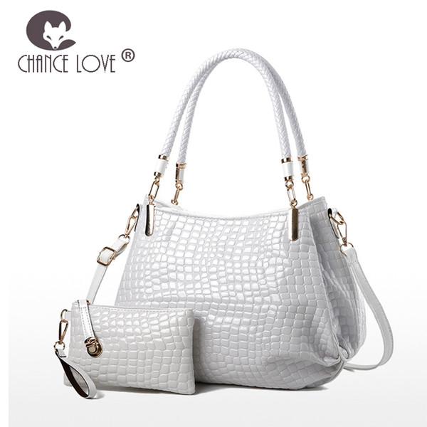 Chance Love 2018 nouveau sac en cuir verni motif crocodile sac composite épaule bandoulière sac à main en cuir blanc brillant sac à main
