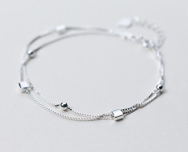 REAL. 925 Sterling Silver Double-rows Multi-Layers Lucky Beads &Square Geometric Chain Bracelet Slim GTLS319