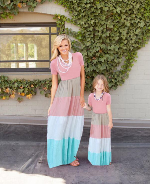 2018 Mother Daughter Striped Dresses Family Matching Outfits for Summer Sleeveless Casual Dress Mom Daughter Clothes Plus Size XXXL 8 Color