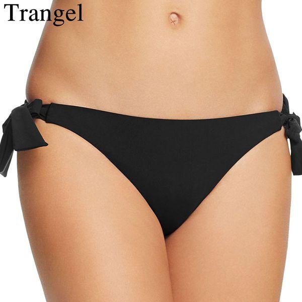 Trangel schwarzer Bikini brasilianische Bademode Frauen angepasst Höschen sexy Slip solide Badeanzug Unterwäsche Thong Bikini Bottom