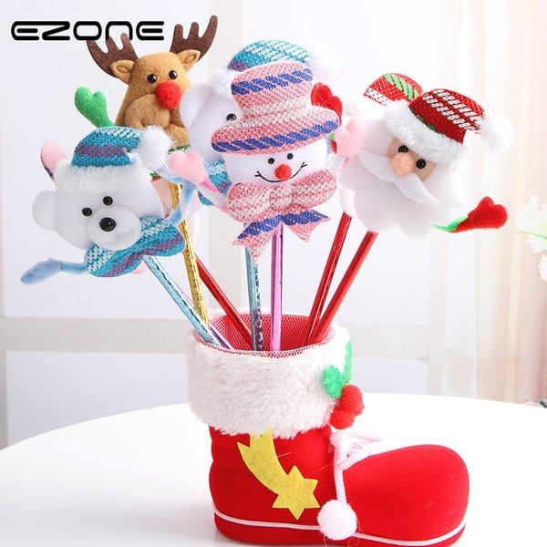 EZONE 4PC/Set Kawaii Cartoon Plush Christmas Series Ballpoint Pen Creative Ball Point Pen Korean School Stationery Rabdom Color