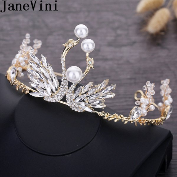 JaneVini Princess Pearl Crystal Tiaras and Crowns Rhinestone Gold Metal Headband Bridal Crown Wedding Party Accessories Women Hair Jewelry