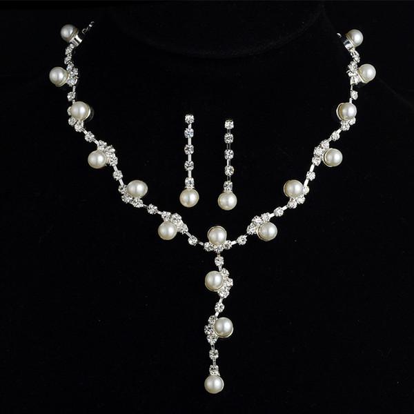 2018 joyería nupcial con encanto de aleación de diamantes de imitación plateado perla conjunto de joyas para la boda de la novia de dama de honor fiesta de baile
