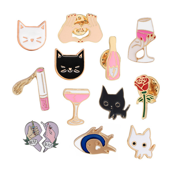 Cartoon Badge Red Wine Bottle Lighter Cigarette Brooch Jewelry Black White Cat Fish Heart Gesture Rose Flower Pins and Brooches
