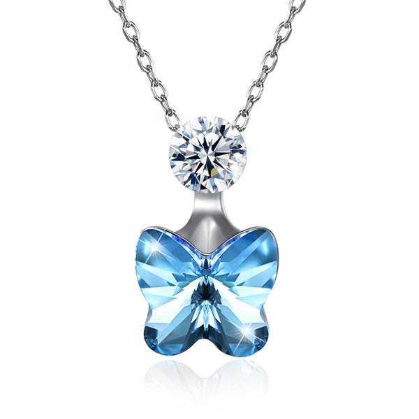 Menrose S925 Sterling Silver Jewelry Butterfly Crystal Fashion Trend Pendant Necklaces for Women Pink and Blue 2 Colors Party and Engagement
