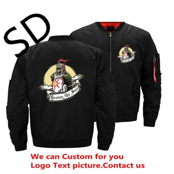 Dark Souls II 2 Arteries Praise The Sun Fashion Bomber Jacket Men Pilot Zipper Army Green Wind Breaker Jacket Men Casual Hip Hop