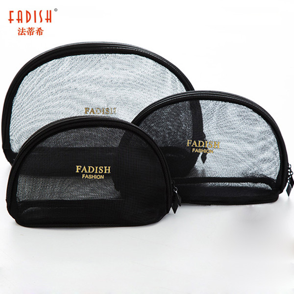 Fadish Cosmetic Bag Nylon Makeup Bags Travel Organizer Necessary Transparent Beauty Case Toiletry Bag Wash Make Up Pouch