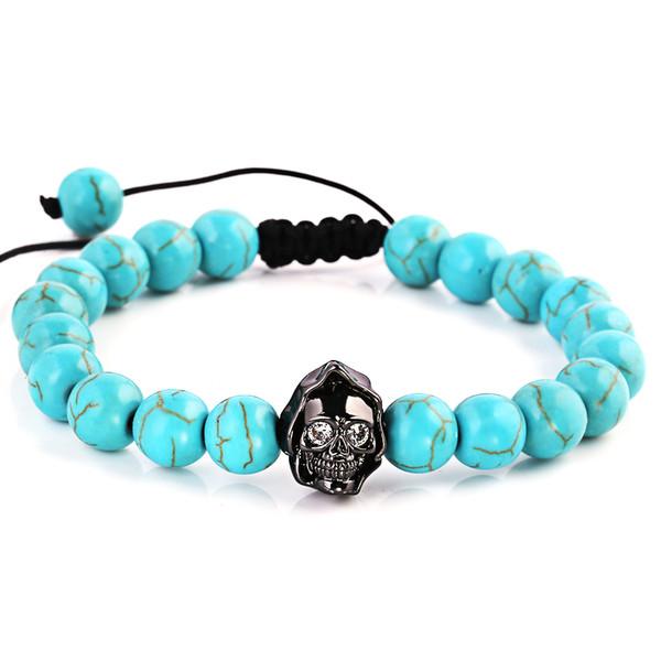 natural blue stone beads bracelet cross black skeleton skull vintage charms women's jewelry yoga bracelets men fashion gifts