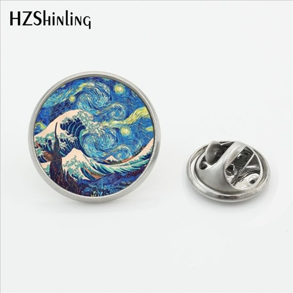 2017 New Arrival The Great Wave Lapel Pins Handmade Round Glass Dome Wave Painting Shirt Stainless Steel Collar Pin
