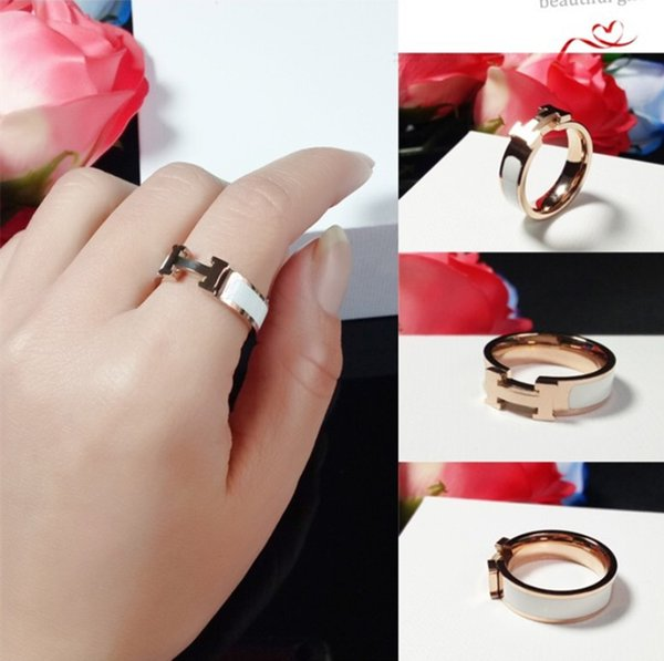 luxury 316L Stainless Steel H stamp Rings Black and white red orange drop oil H ring For Women with Original Box Gift