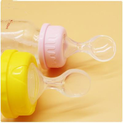 Infant Silicone Feeding Bottle Nipple Spoon Rice Paste Spoon Baby Food Feeder food grade silicone 2 size