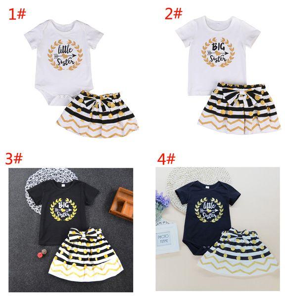 Baby girl dress suit T-shirt romper+skirt 2pcs set letter Litter Big Sister ruffle golden black kid clothing lovely family clothes