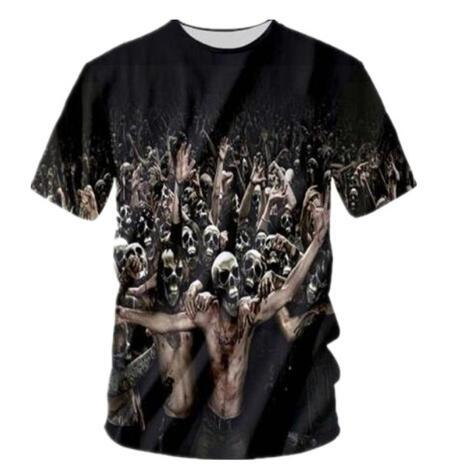 New Fashion Men/Women 3D Zombie Costume Funny T Shirts Summer Short Sleeve Tee Shirt Creative Breathable Hip Hop Tops Tees Clothing
