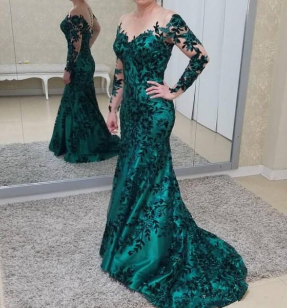 Hunder Green Floor Length Mermaid Long Sleeves Applique Mother of the Bride Dresses Hunter Green Custom Made Mother's Dresses