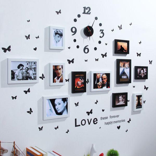 Europea Home Design Wedding Love Photo Frame Marco de fotos Decoración de pared Set para pegatinas de pared Photo Set organizador