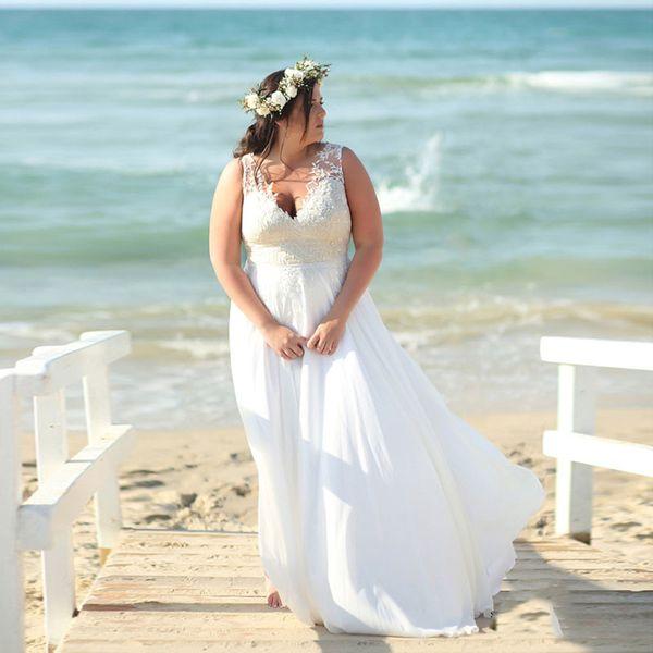 Empire Plus Size Wedding Dresses V Neck Pearl Belt Floor Length Vestido de novia Pleats Lace Sheer 2019 Beach Wedding Gowns Bridal Dresses