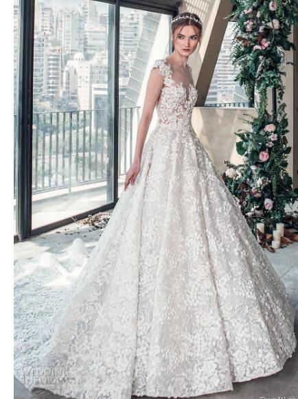 2018 luxury wedding dress high-end Gorgeous wedding dresssA line embellished with 3D flowers, silk threads, sequins, pearls and crystals.05