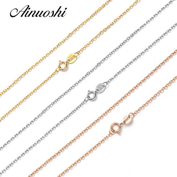 AINUOSHI Luxe Pure 18K Solide Or Rose Or Jaune Blanc O Forme Femmes Colliers Pour Pendentif de Fiançailles 45cm 18 '' Chaîne