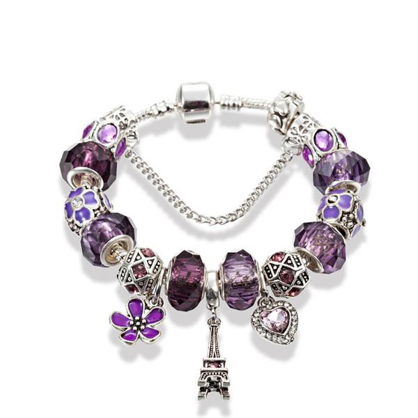Frauen Eiffelturm Anhänger Armband Lila Kristall Charme Europäischen Perlen Armbänder Hohe Qualität 925 Silber Schmuck Großhandel