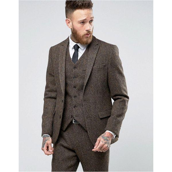 2017 Custom Made brown Tweed Suit Mens Formal Skinny Wedding Tuxedo Gentle Modern Blazer 3 Piece Men Suits (Jacket+Pants+Vest)