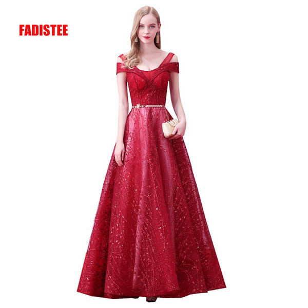 FADISTEE Autumn 2018 New arrival party evening dresses V-neck bling sequins Vestido de Festa prom party Robe De Soiree frock Banquet