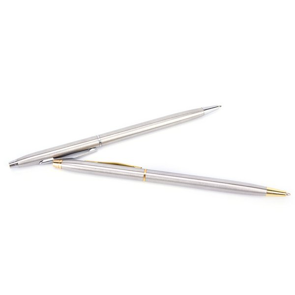 Of New Stainless Steel Rods Rotating Metal Ballpoint Pen Business All-steel Gold Folder Gift Stationery 1 Pieces / Batch