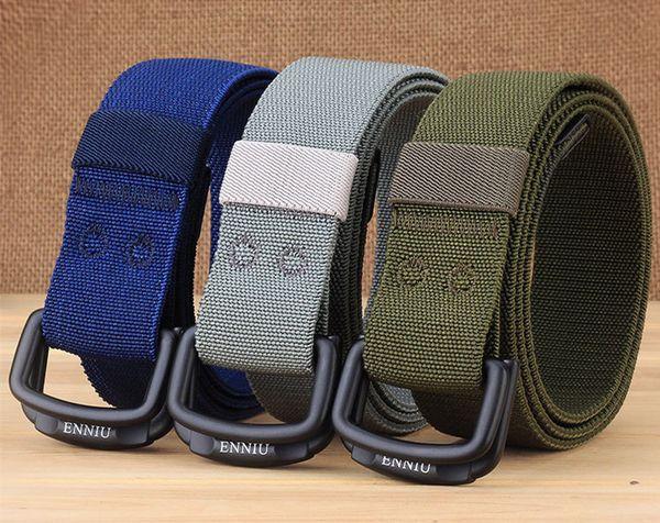 Fashion Canvas belts men Double Ring Buckle outdoor Elastic nylon woven Waist belt leisure sports military training belt Accessories