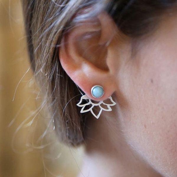 Trendy natural stone earrings Gold Silver Color Alloy Spike Earrings Ear Jacket Clip Stud Earrings for Women 5172