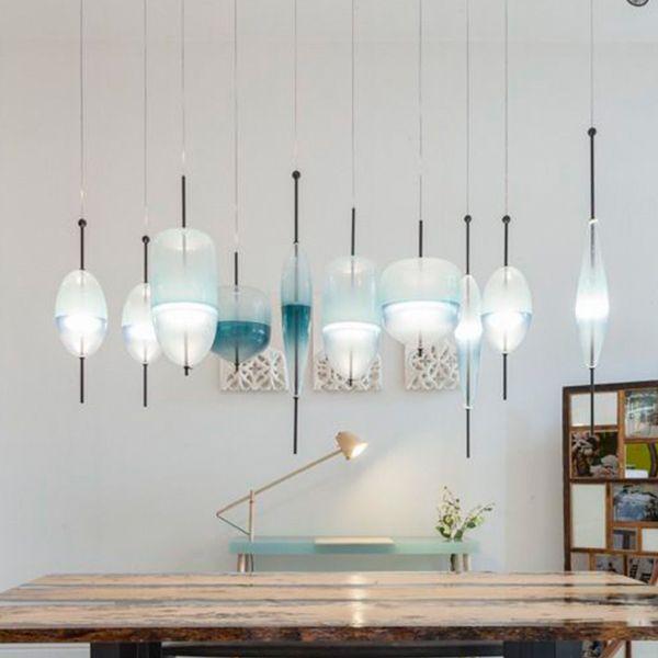 Fashion Blue Glass Pendant Lamps Nordic Modern led Pendant Lights Living Room Restaurant Bedside Lamps Bars Cafe Decorative Hanging Lamps