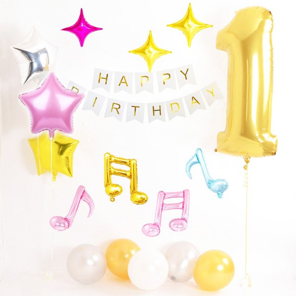 ZLJQ First Birthday Party 1st Decorations Gold Number One Balloon Happy Bunting Banner Baby Supplies