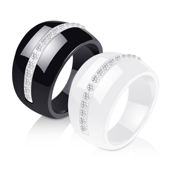 New Fashion Design Black & White Ceramic Rings For Women White Color Cubic Zircon For Wedding Ring Jewelry Wholesale Retail