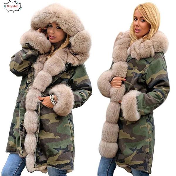 2019 Hot Womens Faux Fur Chaqueta de invierno Parka con capucha Escudo Fishtail Manga larga Abrigo ropa de mujer DropShiping 18Oct30