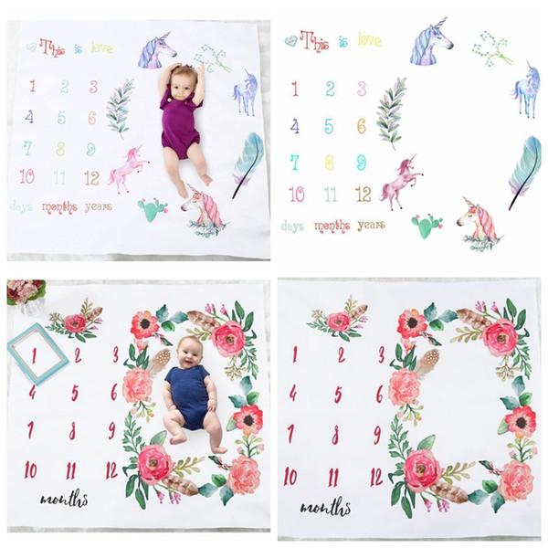 100 * 100 cm Yenidoğan Fotoğraf Arka Plan Fotoğrafçılık Için Bebek Battaniye Unicorn çiçek Baskı Aylık Büyüme Milestone Sahne KKA4787