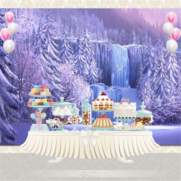 Princess Baby Girl Birthday Party Photography Backdrop Printed Icefall Forest Trees Fantasy Waterfall Winter Scenic Photo Booth Background