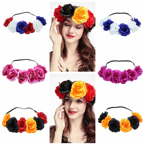 6styles Bride rose Hairband Wreath Hair Band Bohemia Wedding Wreaths Elastic Party Beach Supplies girl fashion headwear FFA814 300PCS