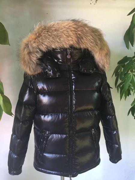 Waschbärpelz Daunenmantel Reißverschluss schwarz Winter britischen Stil Männer Daunenjacke Kapuzenmantel klassisch warm halten Dicker Parka S-XXL MAYA