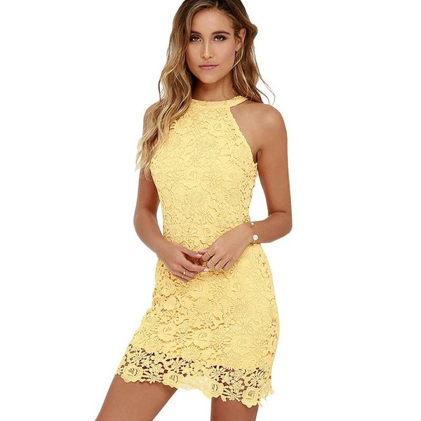 Womens Elegant Party Short Sexy Night Club Halter Neck Sleeveless SheathSpecial Occasion Cocktail Lace Dresses 2016