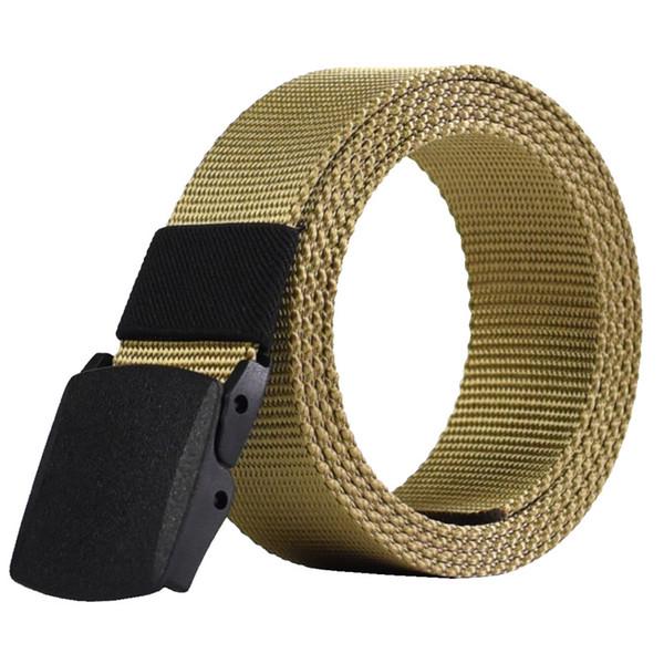 2018 Fashion Casual Canvas Practical Men Belts Solid Color Simple Male Plastic Buckle Belts Goebel