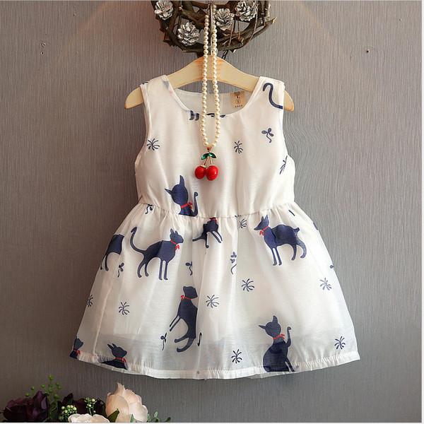 2018 New Pattern Summer Korean Girl Fashion Grace Kitty Sleeveless Dress In Children Western Style Princess Skirt