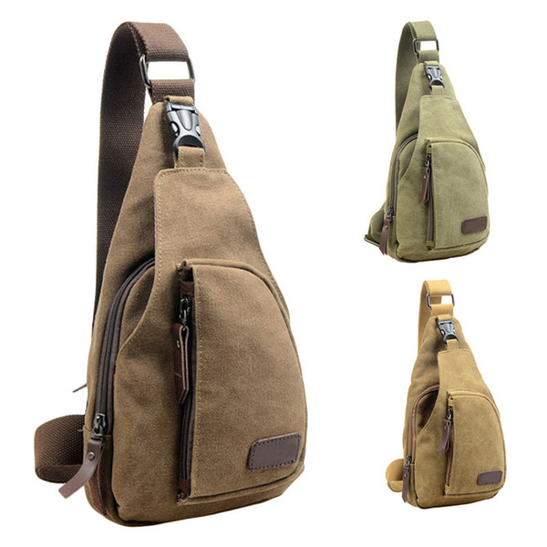 Outdoor Sports Canvas Unbalance Messenge Bag Travel camping sport Crossbody Shoulder Chest Bag for travel hiking day #C