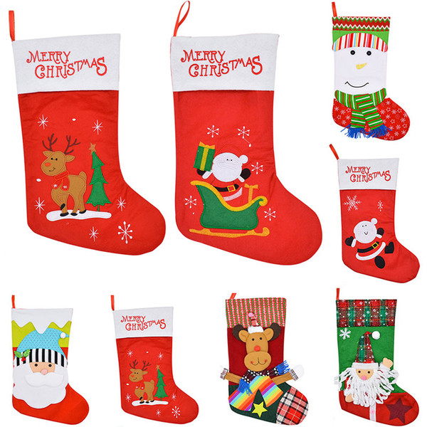 christmas stocking gift bags felt cloth christmas tree sock xmas candy storage bag festive party supplies xmas decorations 15 color wx9 785