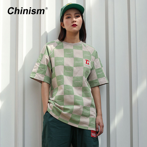 CHINISMUS 2018 Sommer Plaid Design Oversize Thick t-shirt Männer Frauen Lose Hip Hop Kurzarm T-stück Grün Rot Farbe Top T