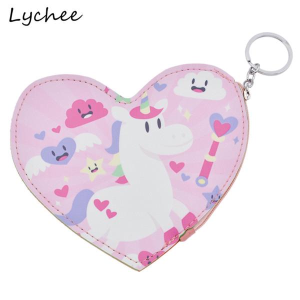 Lychee Cute Animals Horse Unicornio Rainbow Love Heart Pattern Cartera de cuero artificial Mini Monedero de dibujos animados