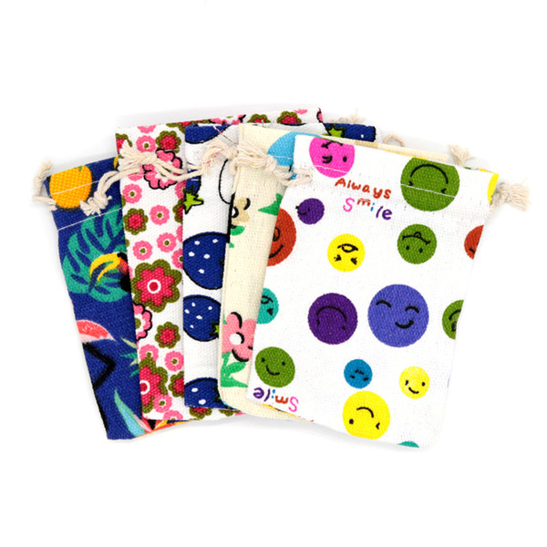 100pcs/lot 10x14cm Printed Canvas Drawstring Bags for Jewelry Bracelet Earring Beads Snacks Packaging Pouches can Customized LOGO