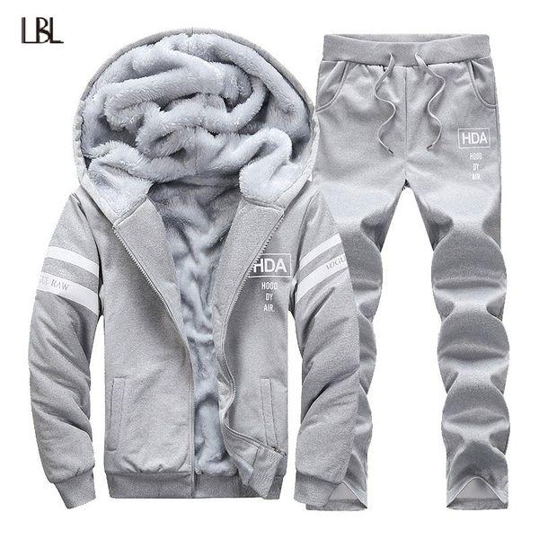 Winter Tracksuits Men Set White Line Printing Thicken Fleece Hoodies + Pants Suit Warm Casual Fleece Men's Coats Hoodie Suits
