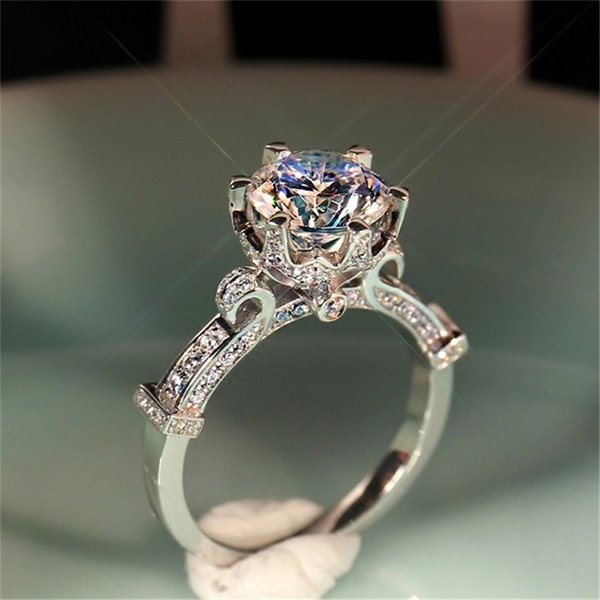 100% 925 Sterling Silver Bridal Wedding Bijouterie Rings for Women Wineglass Ring Cubic Zirconia Charms Engagement Fine Jewelry